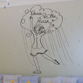 Vinyl Wall Decal Sticker Dancing in the Rain #OS_DC661