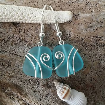Made in Hawaii, Wire wrapped Turquoise Bay blue sea glass earrings, Sterling silver hook, gift box. Beach glass  jewelry gift.