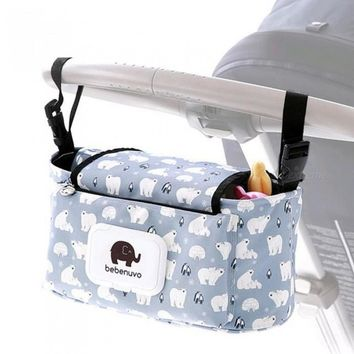 Baby Stroller Organizer Bag Mummy Diaper Bag Hook Baby Carriage Hanging Storage Bag Cartoon Folding Elephant Travel Nappy Bag 1