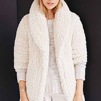 Pins And Needles Sherpa Furry Robe Coat- Cream