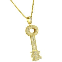 14k Gold Finish Major Key Pendant Rick Ross Iced Out Simulated Diamond Necklace