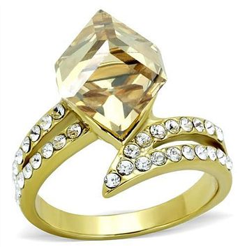 WildKlass Stainless Steel Ring IP Gold(Ion Plating) Women Top Grade Crystal Champagne