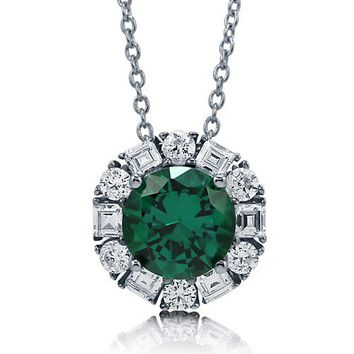 Round Cut Emerald CZ 925 Sterling Silver Solitaire Pendant Necklace #n1052-EM