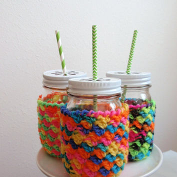 Mason Jar Cozies, Three, White Daisy Cut Lids, Hot Lime, Pink, Turquoise, PINT Size 16 oz. Gift for Kids, Birthday Party Favors for Children