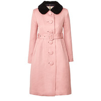 Orla Kiely - Textured Jacquard Shearling Collar Coat