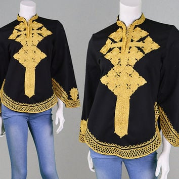 Vintage 60s 70s Hippie Top Black Crepe & Gold Embroidery Boho Shirt Indian Kaftan Top Womens Dashiki Nehru Collar Hippy Top Black and Gold