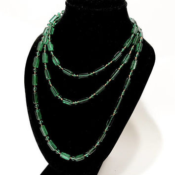 "Czech Glass Flapper Necklace, Art Deco  1920s, Green Glass Bead Necklace, Molded Beads, 58"" Long, Wrap Around Necklace, Art Deco Jewelry"