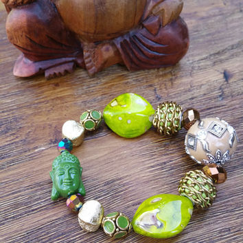 Glam Collection - One of a kind Green Crystal Beaded/Green Buddha Charm Hand Made Bracelet