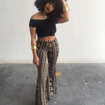 Boho Flare Pants Women Bohemian Fashion Loose Long Pant Tribal African