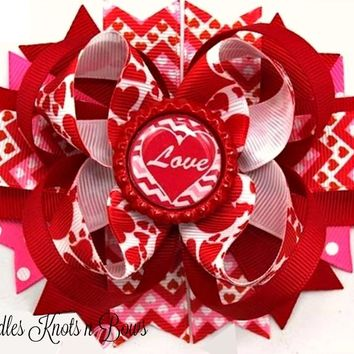"""Girls Valentines Day Hair Bow, Girls  Boutique """"Love"""" Hairbow, Ribbon w/ Bottle Cap Center"""