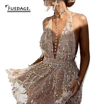 Fuedage Sexy Khaki Black Tassel Playsuits Cropped V Neck Spaghetti Strap Jumpsuit 2017 Short Romper Club Nightclubs Sequin Femme
