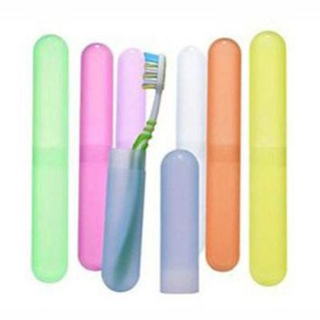 DCCKL72 New 1pcs Portable Toothbrush Cover Holder Outdoor Travel Hiking Camping Toothrush Cap Case Protect Random Color
