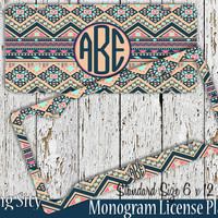 Aztec Tan Tribal Monogram License Plate Frame Holder Metal Wall Sign Tags Personalized Custom Vanity Country Girl