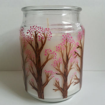 Gardenia Candle, Hand Painted Candle, Cherry Blossom Trees, White Candle, Scented Candle, Handpainted Home Decor, More Scents Available!