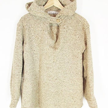Vintage Wool Hooded Poncho -- 70s Liz Claiborne -- Hooded Sweater Coat -- Baja Hoodie -- Tan Oatmeal Flecked Wool Pullover -- Womens S / M