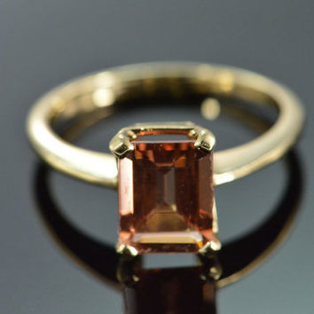 Estate Vintage Fine Emerald Cut Natural Imperial Topaz Ring 14k Yellow Gold Size 8