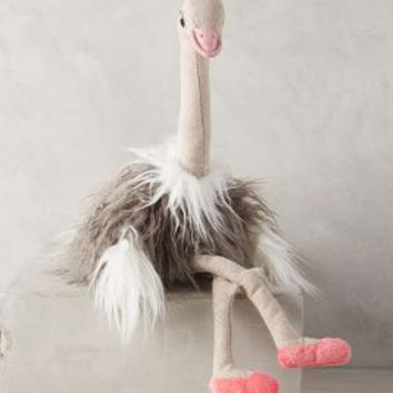 Olivia Ostrich Stuffed Animal by Anthropologie Grey One Size Gifts