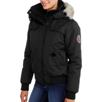 Fahrenheit Women's Plus-Size Bomber Coat With Fur-Trim Hood, Black, Medium