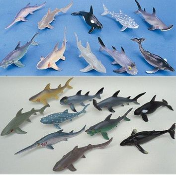 (10 pieces/lot) Soft Plastic Big Sharks Model Set 15-20cm PVC Sea Life Shark Whale Marine Life Figure Toys Free Shipping