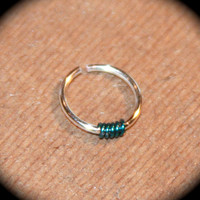Extra Small Nose Ring, Green Wire Silver Beaded Nose Ring, 24 22 20 ga, Nose Hoop, Hoop Earring, Cartilage Hoop, Endless, Piercing Jewelry