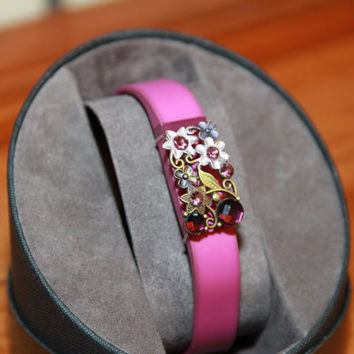 Fitbit/Jawbone Fitness Tracker Bling Slider Accessory - Purple, pretty flowers, gems brasstone