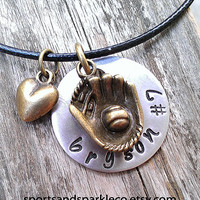 Hand Stamped Personalized Necklace with Name and Jersey Number, Antique Bronze Baseball/ Softball Glove, Heart Charm w/ Leather Necklace