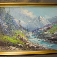 Impressionist Oil Painting on Canvas - European Mountain Scene with Hikers/Horse Riders
