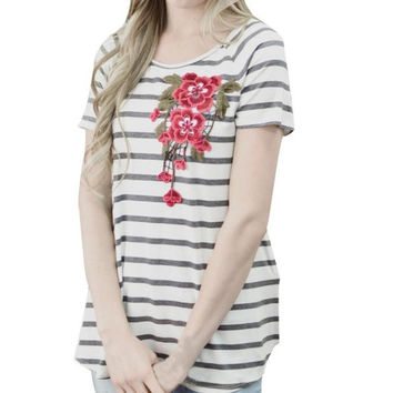 T-Shirts   Women Striped Flower Embroidery Casual Cotton Short Sleeve Loose O-Neck Ladies Tees Tops #23 BL