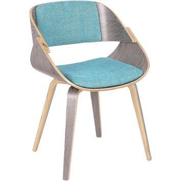 Fortunato Mid-Century Dining / Accent Chair with Aqua Fabric, Light Grey