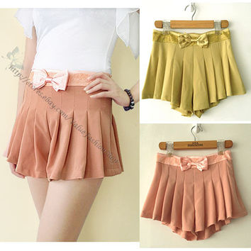 Korean Womens Sweet Cute Pleated Ruffle Lace Skirt Shorts Skorts Short Pants 892