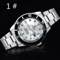 OMEGA New fashion tide brand quartz dial round shell watch Silver+white