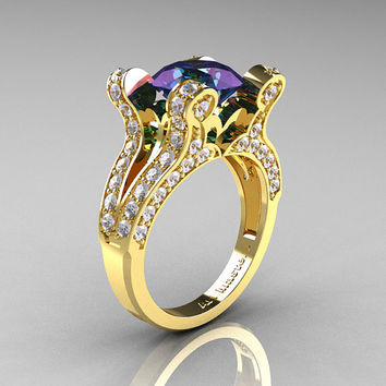 French Vintage 14K Yellow Gold 3.0 CT Russian Alexandrite Diamond Pisces Wedding Ring Engagement Ring Y228-14KYGDAL