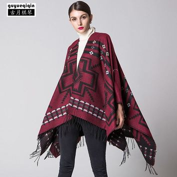 New Arrival Printing Shawl For Women Bohemia Thicken Tassels Pashmina Scarves Streetwear Femme Keep Warm Ponchos Capes