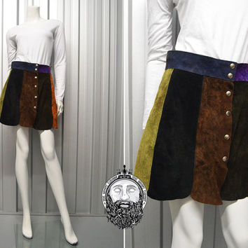 c4feb1f3a8 Vintage 70s Patchwork Suede Multicoloured Mini Skirt Boho Hippy Skirt Brown  Green and Purple Suede Gladiator