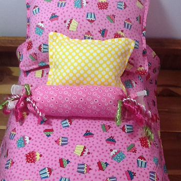 "Doll Bedding, 18"" dolls, colorful cupcakes on pink, reverses to pink fleece, 2 pillows and bolster,  4 piece set, little girl gift"