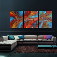 """Painting, 72"""" Acrylic Painting, Modern Wall Art on Canvas by Nandita, Original Large Red, Blue, Contemporary Art, Office Decor, Room Decor"""