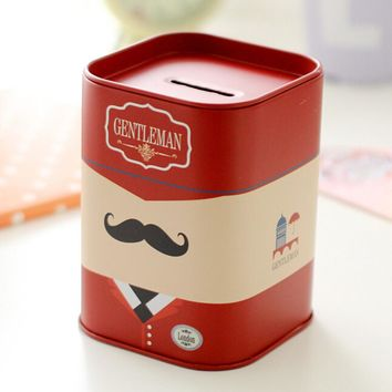 British England Zakka Style Tin Box London Style Metal Piggy Bank Iron Coin Pen Pencil Storage Container Gift Packing Iron Box