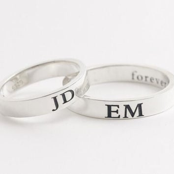 Engraved Ring,Initials Ring,Gift for her,Bridesmaid Ring,Mother Ring - Name Ring - Couples Ring