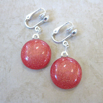 Fused Glass Earring, Dangle Clip On Earrings, Red - Sparkly Red  by mysassyglass