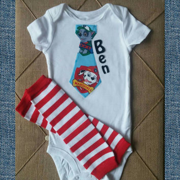 Paw Patrol Tie Onesuit - Personalized - Marshall Paw Patrol Birthday - Cake Smash Outfit - First Disney Shirt - Tie Onesuit