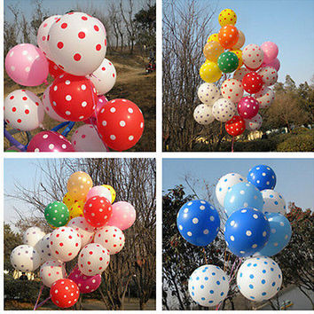10Pcs Polka Dot Latex Balloon Celebration Birthday Wedding Party Home Decor LS