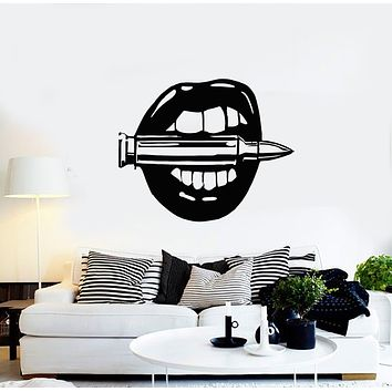 Vinyl Wall Decal Sexy Girl Lips Bullet Shooting Range Stickers Mural (g670)