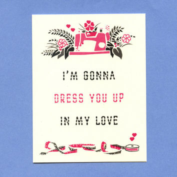 DRESS YOU UP   Cute Love Card by seasandpeas on Etsy