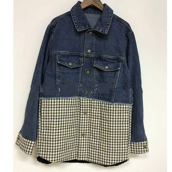 Trendy [EWQ] 2018 Fashion Turn-down Collar Plaid Patchwork Women's Denim Jacket Trendy New Autumn Personality Clothes Coat BE051 AT_94_13