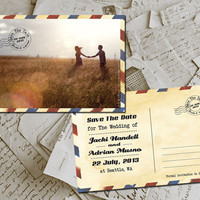 "50 Wedding Save The Date Card - Airmail II Vintage Photo Personalized 4""x6"""