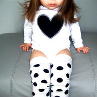 Black or White Heart Onesuit - Leg Warmer Set - White or Black Long or Short Sleeves - Black Friday Etsy - Cyber Monday Etsy
