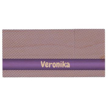 Violet small plaid pattern. Add name. Wood USB Flash Drive