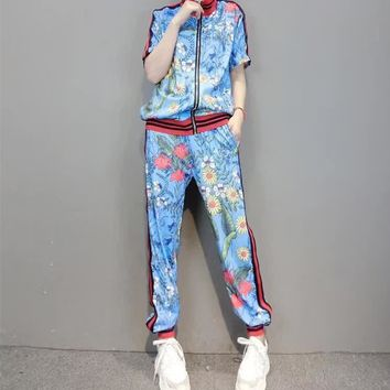 """Gucci"" Women Casual Fashion Flower Print Multicolor Stripe Short Sleeve Zip Cardigan Trousers Set Two-Piece Sportswear"