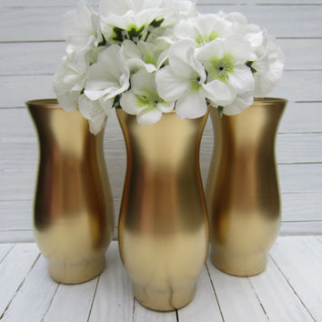 Set of 3 Gold, Black, Silver Mini Vases, Home Decor, Wedding Decor, Baby Shower Decor, Centerpieces, More Colors