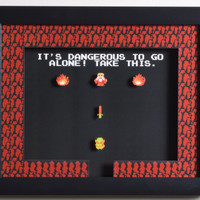 """The Legend of Zelda (NES) - """"Take This!"""" 3D Video Game Shadow Box with Glass Frame"""